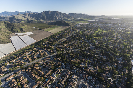 Aerial view of Camarillo homes, hills and farms in Ventura County, California. Stock Photo
