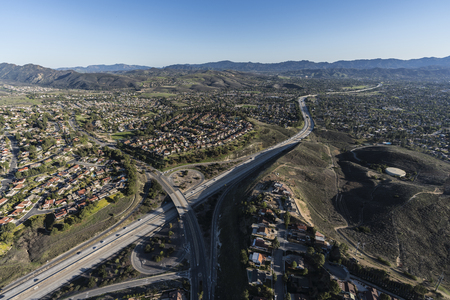 Aerial view of Route 23 freeway at Sunset Hills Blvd near Los Angeles in suburban Thousand Oaks, California.