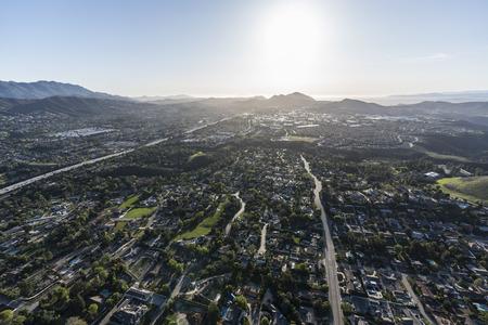 Afternoon aerial view of suburban Thousand Oaks and Newbury Park neighborhoods near Los Angeles, California.