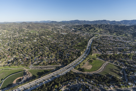 Aerial view of route 23 freeway, homes and parks in suburban Thousand Oaks near Los Angeles, California. Stock Photo