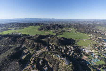 Aerial view of Hidden Valley and the Santa Monica Mountains near Westlake Village, Malibu and Thousand Oaks, California.