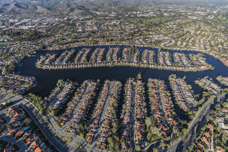 Aerial view of homes on Westlake Island in the Thousand Oaks and Westlake Village communities in Southern California. Stock Photo