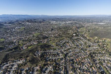 Aerial view of suburban Newbury Park in Thousand Oaks and Ventura County, California. Stock Photo