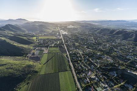 Aerial view of Santa Rosa Valley Camarillo homes and farms in Ventura County, California. Stock Photo