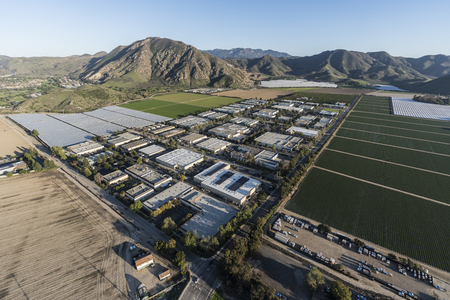 Aerial view of Camarillo farm fields and industrial buildings in Ventura County, California. Stock Photo