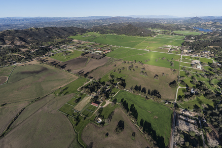 Aerial view of fields and pastures in Hidden Valley near Westlake Village, Malibu and Thousand Oaks California. Stock Photo