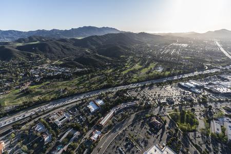 Aerial view of 101 freeway in suburban Thousand Oaks in Ventura County, California.