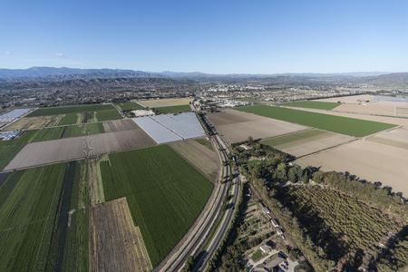 Aerial view of coastal farm fields along East 5th Street near Camarillo in Ventura County, California. Stock Photo