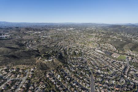 Aerial view of Newbury Park suburban streets near Los Angeles, California.