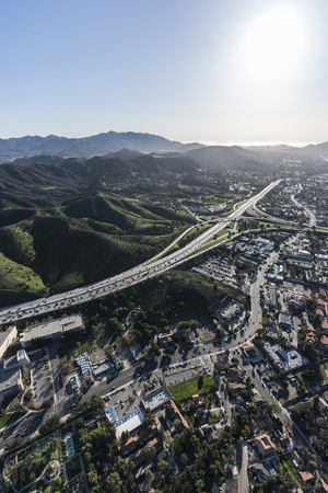 Vertical aerial view of the Ventura 101 freeway and suburban Thousand Oaks near Los Angeles, California. Stock Photo