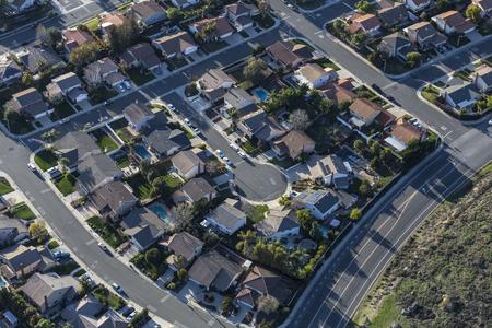 Aerial view of suburban culdesac street homes near Los Angeles, California.