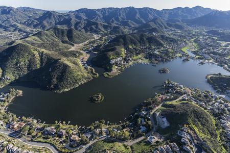 Aerial view of Lake Sherwood and the Santa Monica Mountains near Westlake Village, Malibu and Thousand Oaks California.