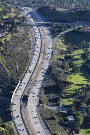 Vertical aerial view of suburban route 23 freeway in Thousand Oaks near Los Angeles, California.