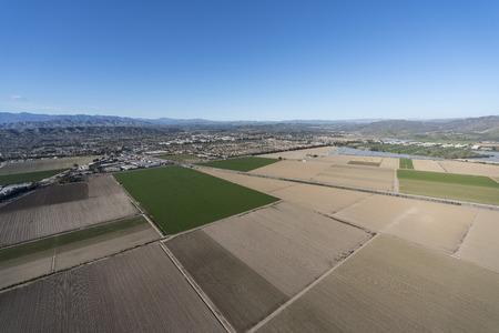 Aerial view of coastal farm fields near Camarillo in scenic Ventura County, California.