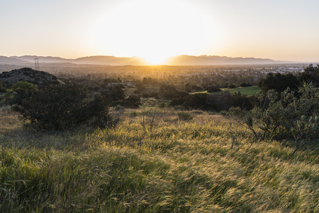 Spring meadow sunrise at Santa Susana State Historic Park in the San Fernando Valley area of Los Angeles, California.