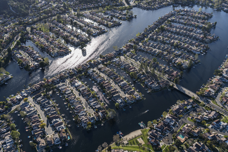 Aerial view of Westlake Village lake homes in the Thousand Oaks area of Ventura County California. Stock Photo
