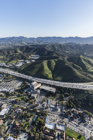 Vertical aerial view of the Ventura 101 freeway in suburban Thousand Oaks near Los Angeles, California. Stock Photo