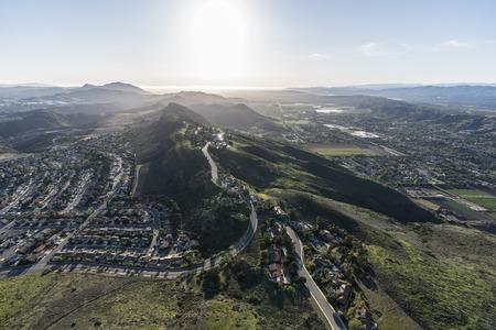 Aerial view of Wildwood neighborhood in Thousand Oaks and Santa Rosa Valley in Camarillo, California.   Stock Photo