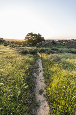Dawn meadow trail at Santa Susana State Historic Park in the San Fernando Valley area of Los Angeles, California.