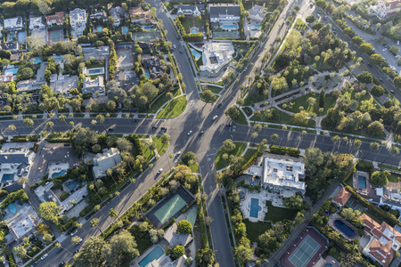 Aerial view of six way intersection at N Beverly Drive and Lomitas Ave in Beverly Hills, California. Stock Photo