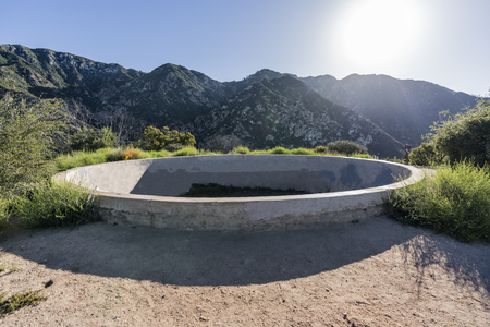 Historic resort reservoir ruin on top of Echo Mtn in the Angeles National Forest above Pasadena and Los Angeles, California. 스톡 콘텐츠 - 105405575