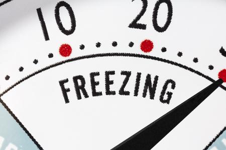 Freezing zone refrigerator thermometer macro close up detail. Stock Photo