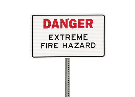Danger extreme fire danger sign isolated on white.