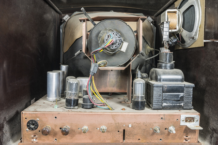 View inside dirty grungy vintage 1950s tube television set.