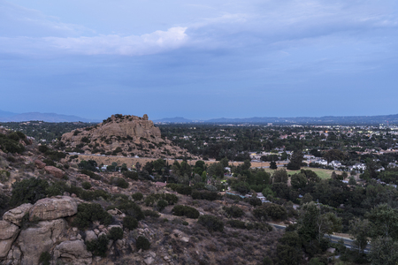 Dusk view of Stoney Point Park and the San Fernando Valley in Los Angeles, California. Stock Photo