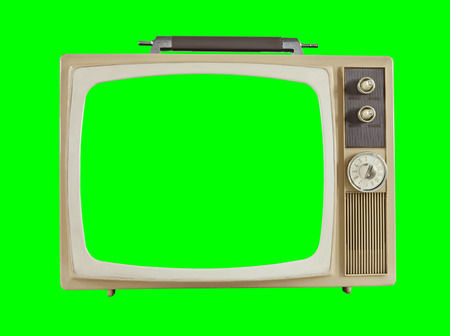 Vintage 1960s television with chroma key green background and screen.