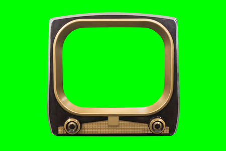 Retro 1950s television with chroma green background and screen. Foto de archivo