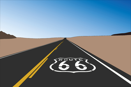 Route 66 pavement sign in the vast California Mojave desert.  Vector illustration.