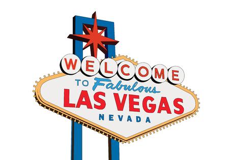 Bienvenue à Fabulous Las Vegas Nevada signe isolé sur illustration vectorielle blanc. Vecteurs