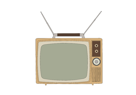 Retro 1960s vintage television isolated on white vector illustration. Stock Vector - 111670931