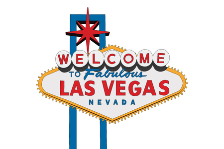 Las Vegas Nevada welcome sign vector illustration isolated on white. Ilustração