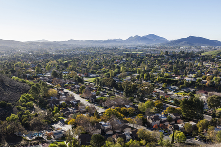 Hilltop view of suburban of Thousand Oaks near Los Angeles, California.
