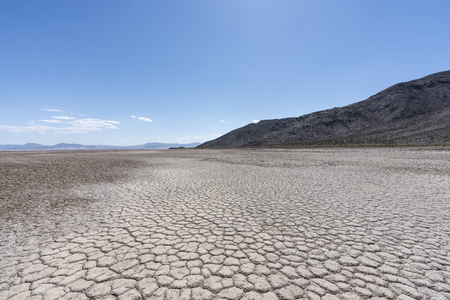Dry desert lake at the end of the Mojave river near Zzyzx California.