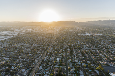 Aerial view towards Lassen St and Winnetka Ave in the Chatsworth neighborhood in the San Fernando Valley region of Los Angeles, California.