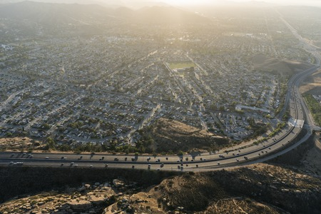 Aerial view of suburban streets, houses and route 118 Freeway near Los Angeles in Simi Valley, California. Stock Photo