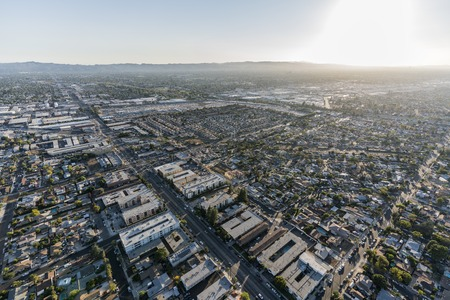 Aerial view towards Laurel Canyon Blvd and North Hollywood in the San Fernando Valley region of Los Angeles, California.