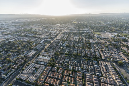 Aerial view towards Nordoff St, North Hills and Panorama City in the San Fernando Valley region of Los Angeles, California.