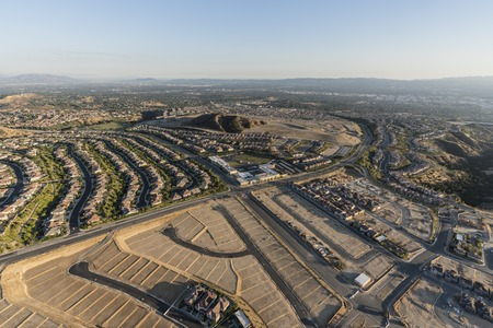 Aerial view of expansion in the City of Los Angeles.  New neighborhood construction in the Porter Ranch area of the San Fernando Valley.