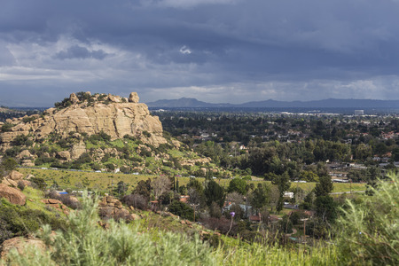 Scenic view of spring storm clouds, Stoney Point Park and the San Fernando Valley near Topanga Canyon Blvd, Porter Ranch and Chatsworth in Los Angeles, California.