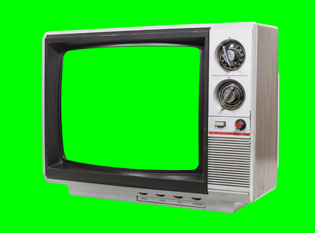 Little vintage television isolated with chroma green screen and background.