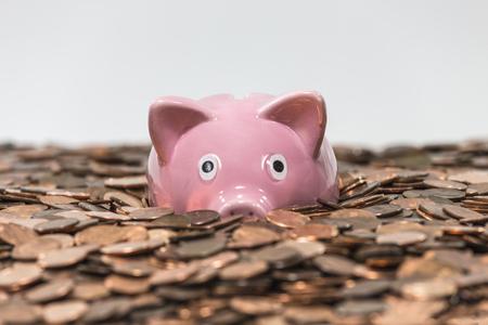 Pink piggy bank swimming in copper pennies. Archivio Fotografico