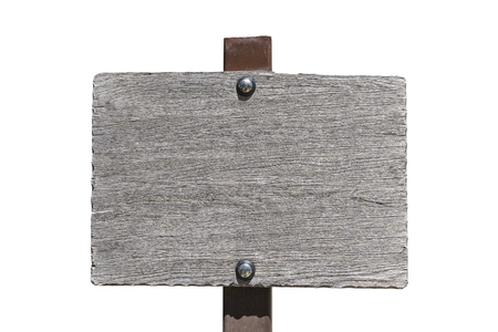 Blank, empty rustic wood sigh isolated on white.