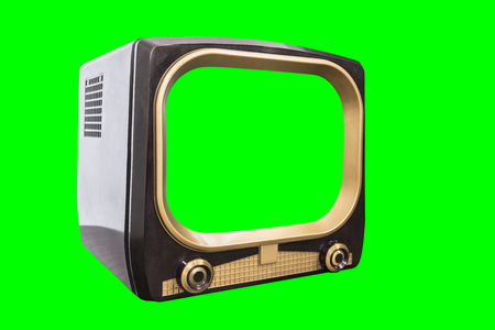 Retro television isolated with chroma green screen and background.