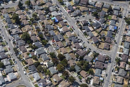 Aerial of residential streets and homes near San Leandro and Oakland, California. Archivio Fotografico