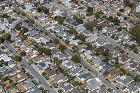 Aerial of residental streets and houses near San Leandro and Oakland, California.