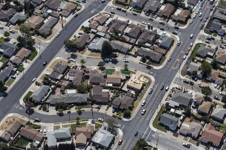 Afternoon aerial view of residential neighborhood near San Leandro and Oakland California.